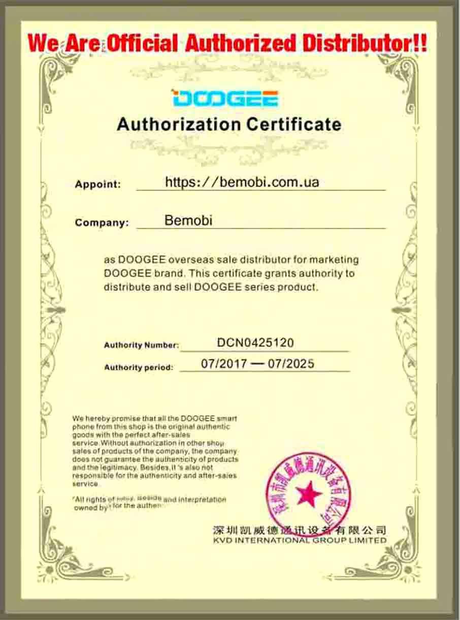 Сертификат телефоны Doogee