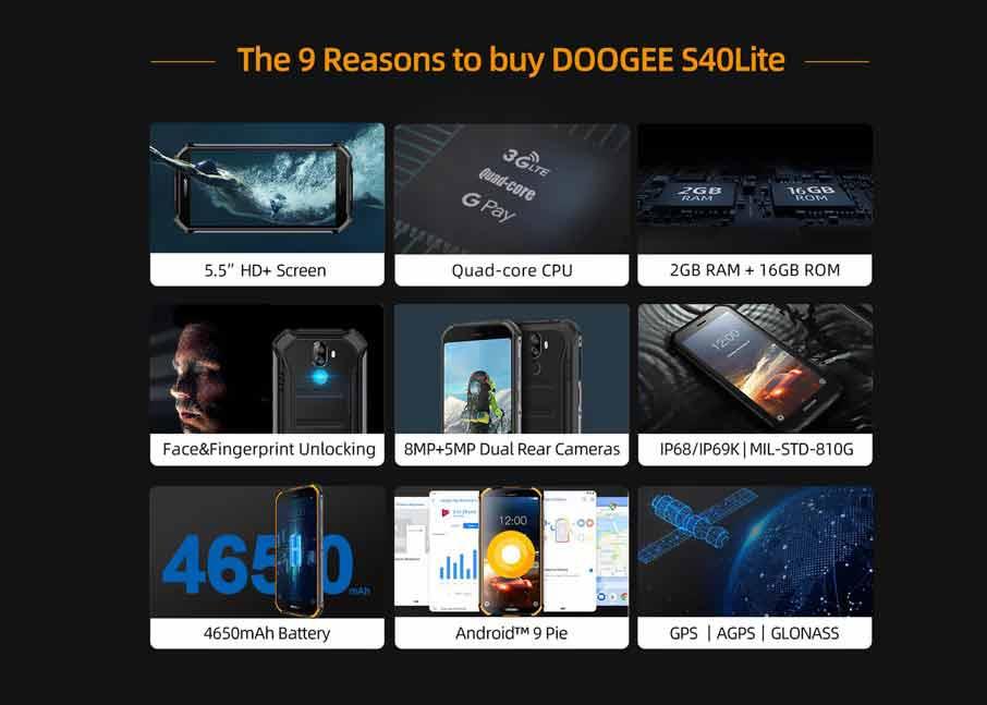 Doogee S40 Lite (2+16Gb, АКБ 4650 мАч)