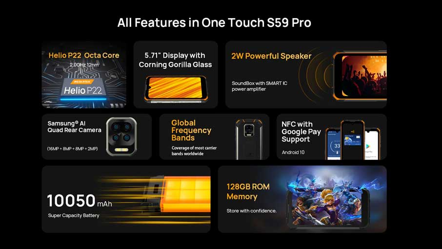Doogee S59 Pro (4+128Gb, АКБ 10500 мАч) Black