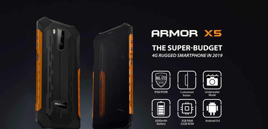 Ulefone Armor X5 (3+32Gb АКБ 5000 мАч) Black